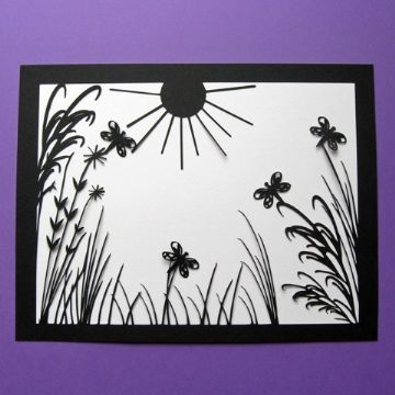 Summer Butterfly Silhouette Picture Template